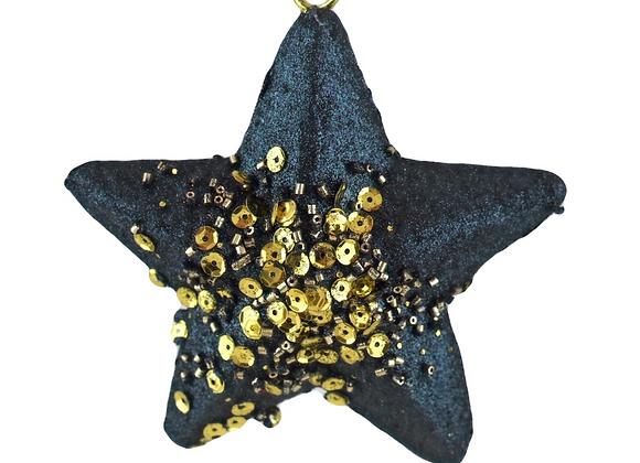 Set of 2 Midnight Blue and Gold glitter Star Tree Ornaments