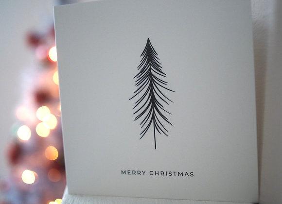 'Merry Christmas' Black tree square christmas card