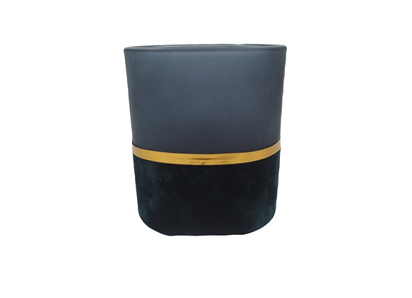 Midnight Blue Velvet and Glass Tealight Holder