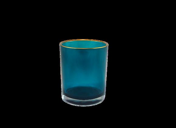 Gold Rim Teal Glass Tealight Holder