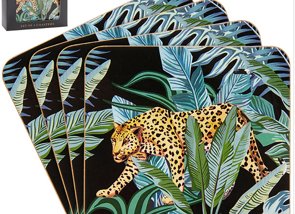 Set of 4 Jungle Cheetah Print Coasters