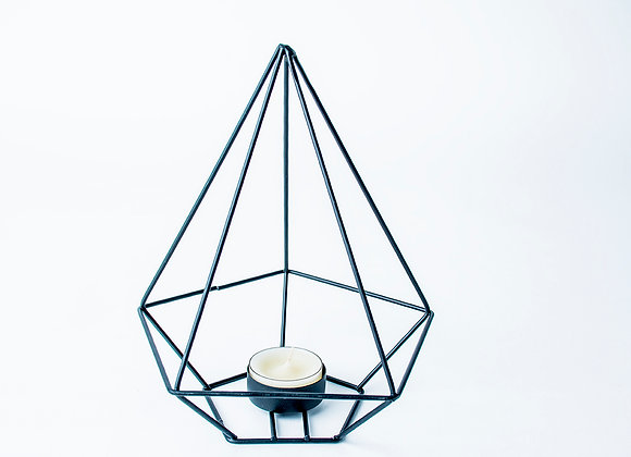 Black diamond shaped geometric tealight holder