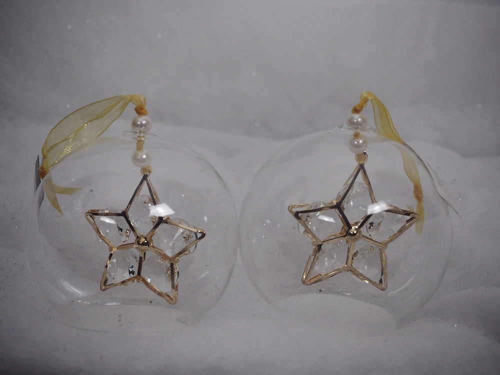 Glass bauble with crystal star | luxury christmas decorations