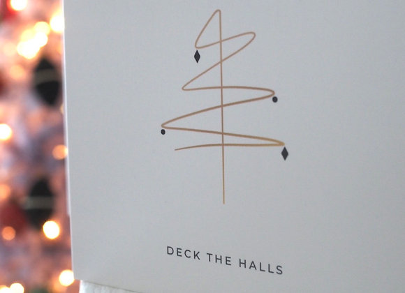 'Deck The Halls' gold Christmas tree square Christmas card