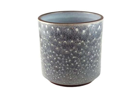 Blue and White Speckled Ceramic Pot