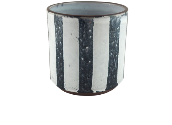 Blue and White Striped Terracotta Plant Pot