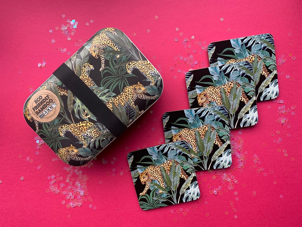 Jungle and leopard print themed bamboo lunchbox and set of four coasters