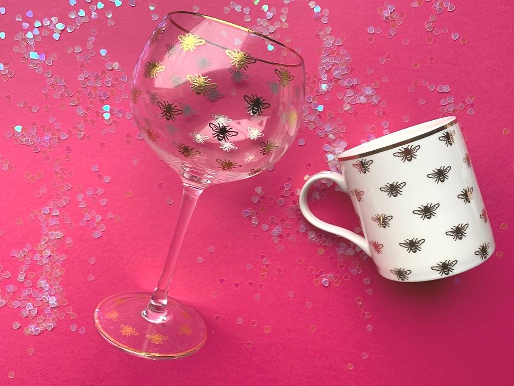 Bee gin glass and bee mug