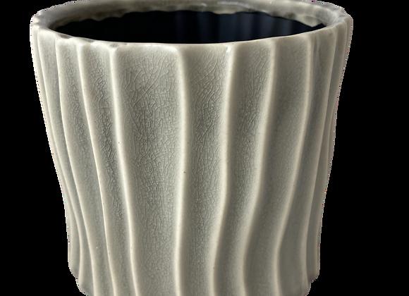 Off White Ribbed Ceramic Planter