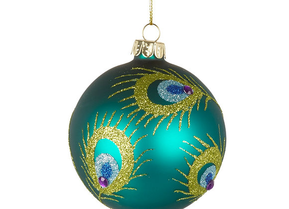 Set of 2 Teal Handpainted Peacock Feather Baubles