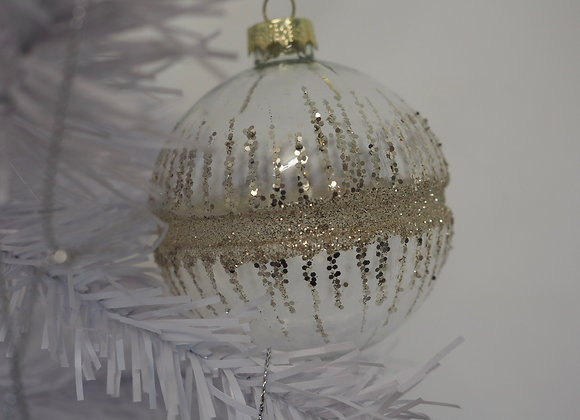 Set of 3 Glitter and Glass Baubles