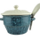 Thumbnail: Blue Glazed Ceramic Bowl with Lid and Spoon