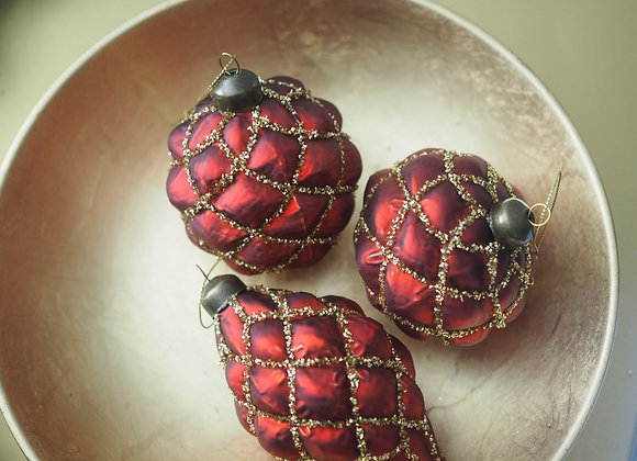Set of 3 Large Red Quilted Baubles