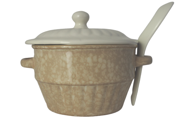 Cream Glazed Ceramic Bowl with Lid and Spoon