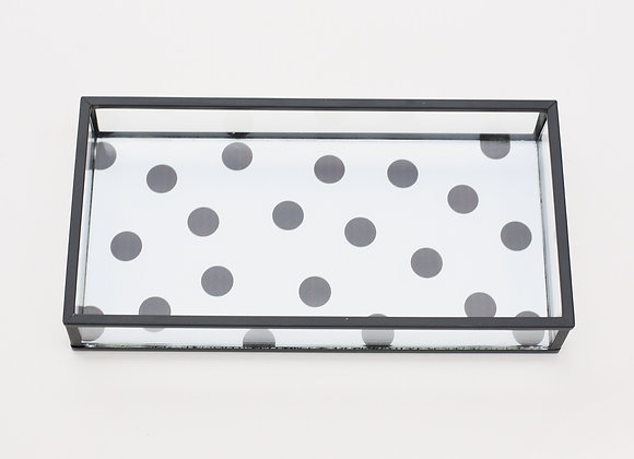 Matte Black Glass Desk Tray
