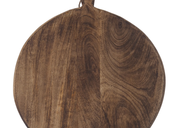 Large Round Wood Chopping Board with Carved handle