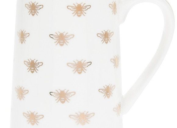 Queen Bee White and Gold Ceramic Milk Jug