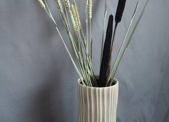 Off White Ribbed Tall Ceramic Vase