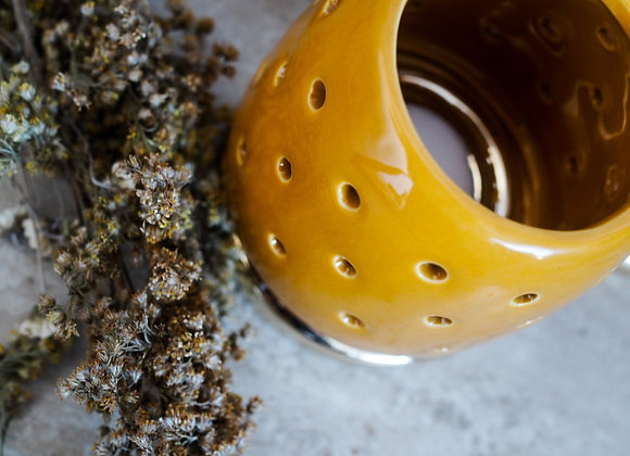 Mustard and Gold Ceramic Tealight Holder
