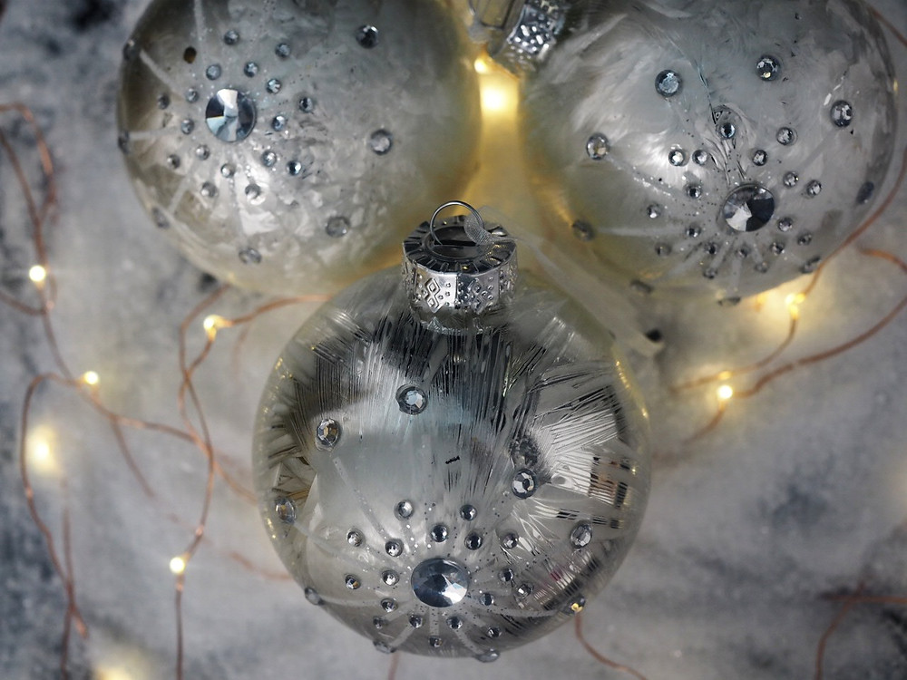 Set of 3 Ice Effect Baubles