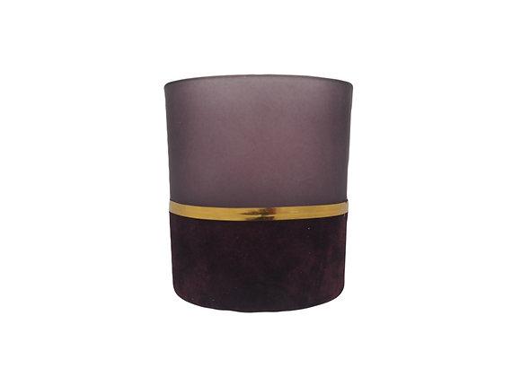 Purple Glass and Velvet Tealight Holder