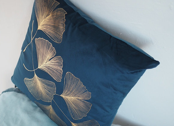 Navy Blue and Gold Ginkgo Leaf Scatter Cushion