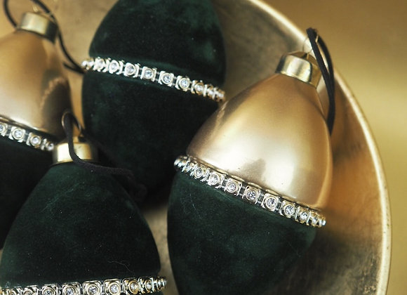 Dark Green Velvet and Diamante Bauble