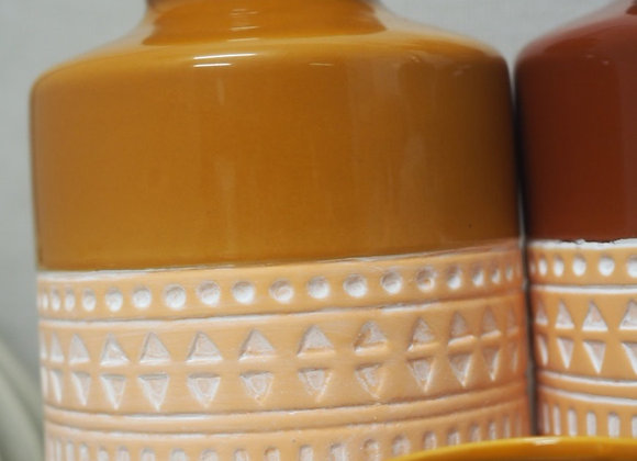 Mustard and Pale Terracotta Tall Vase
