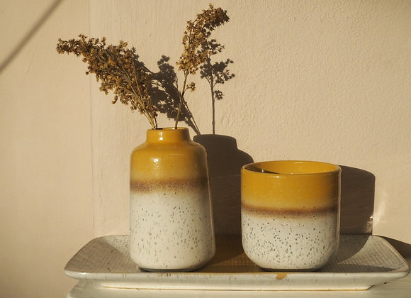 Solaris Yellow and cream speckled ceramic candle pot