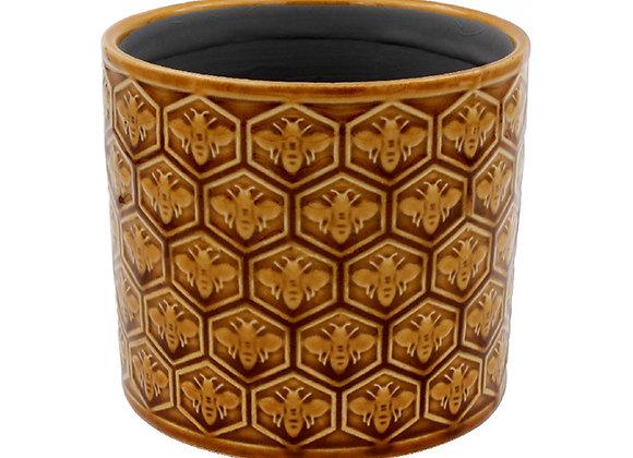 Caramel Colour Ceramic Bee Plant Pot - Small
