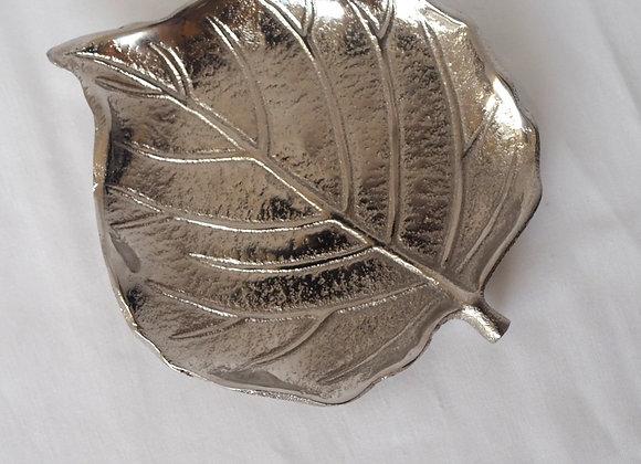 Silver Colour Leaf Shaped Trinket Dish