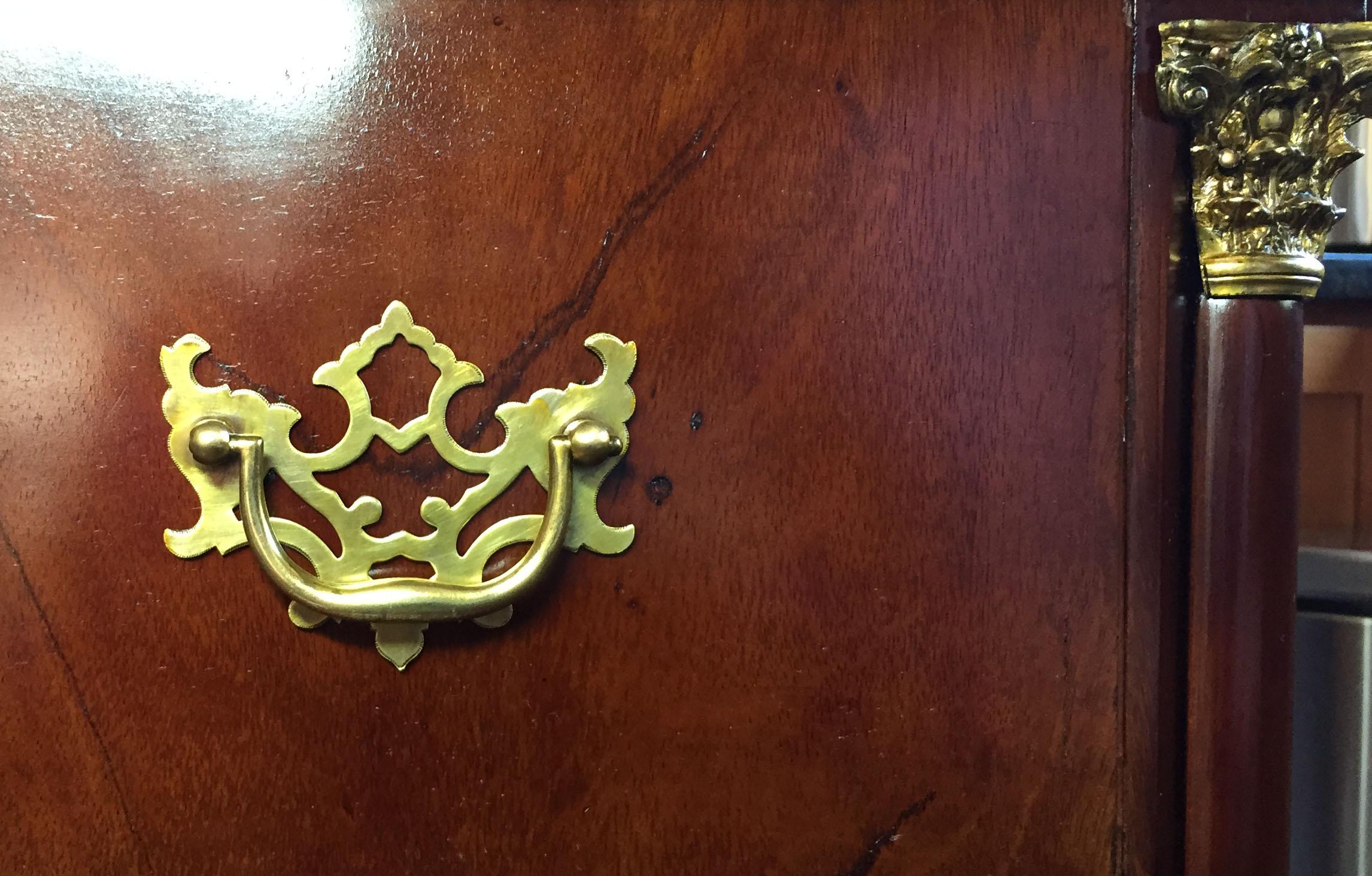 Danish desk, veneered, brass