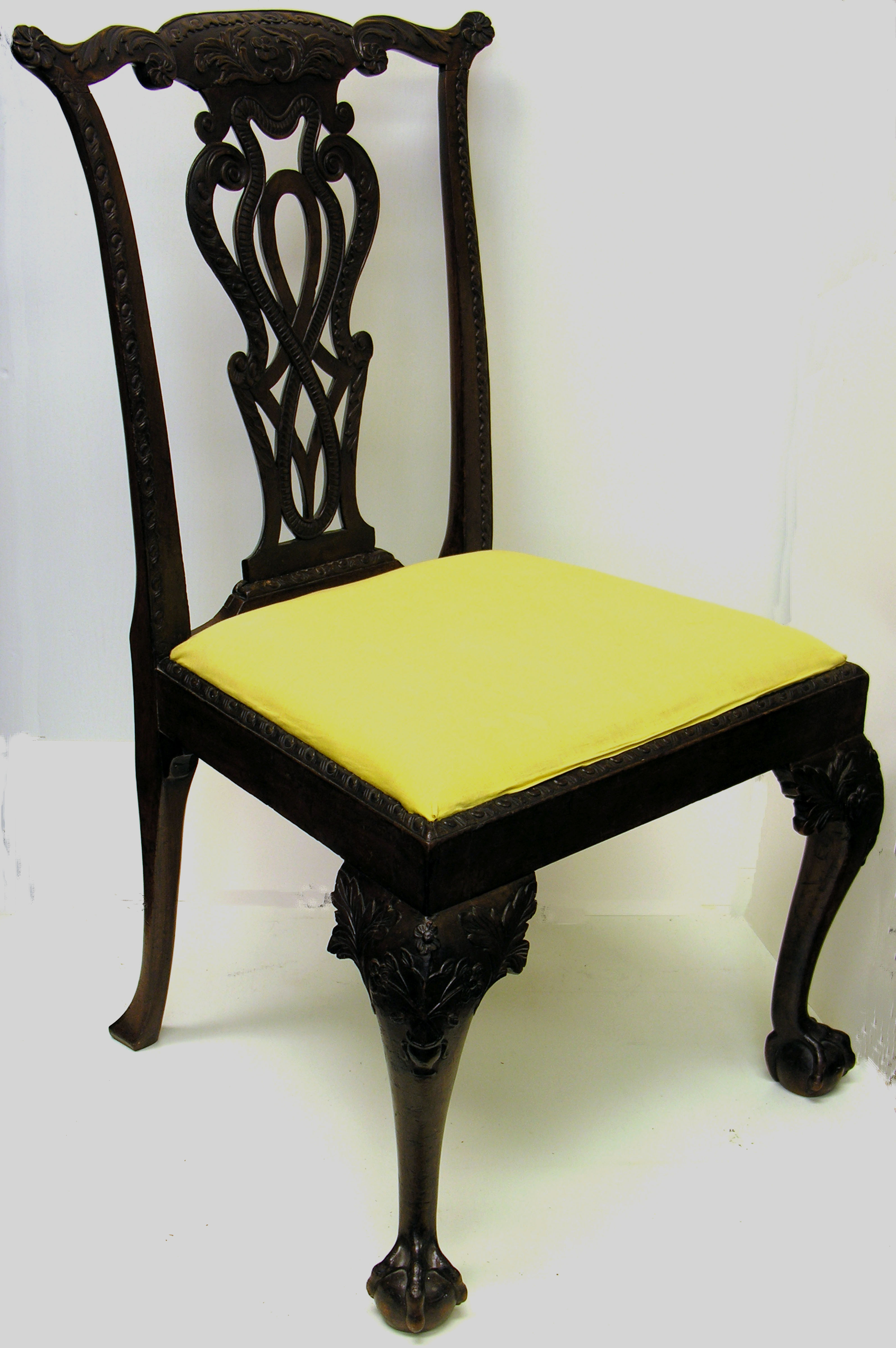 Carved chair, mahogany, Chippendale