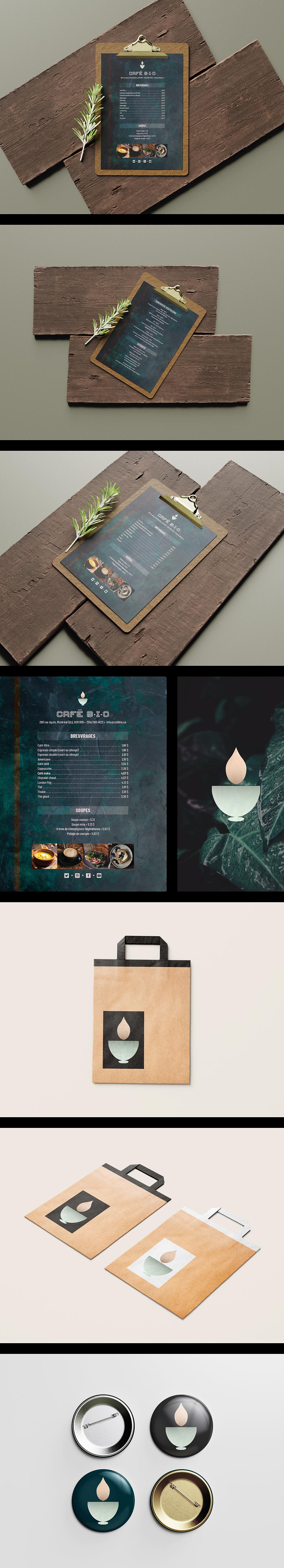 Design menu logo café bio