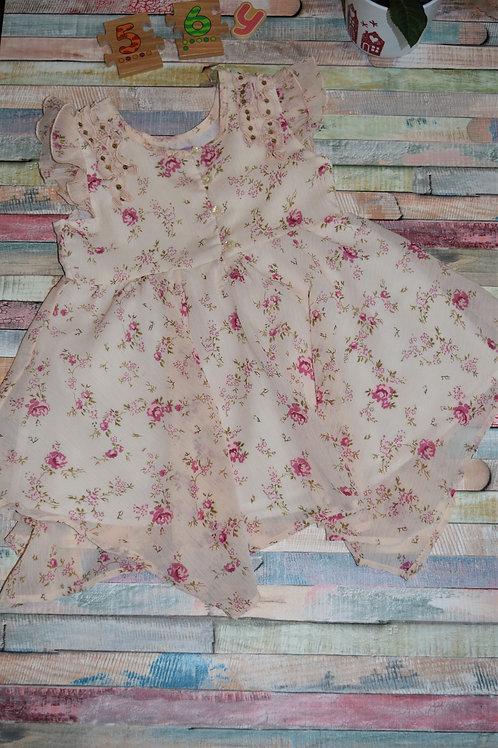 Cream Red Roses Dress