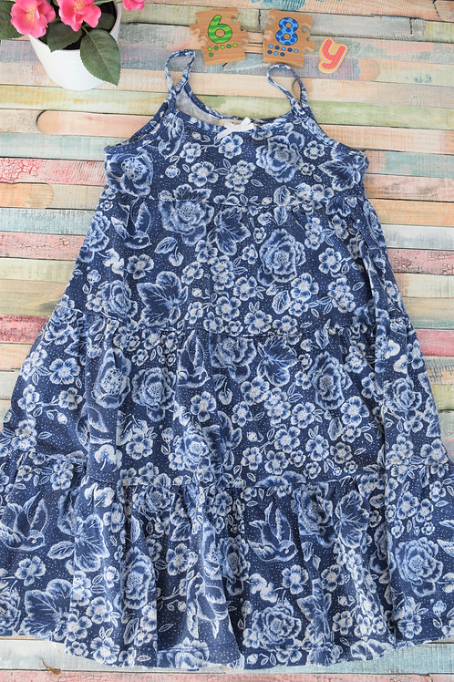 Cotton Blue Flower 6-8 Years Old