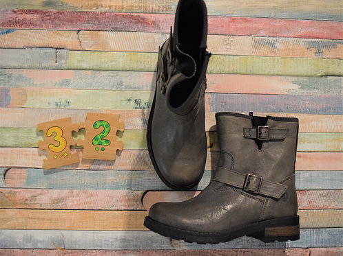 Grey Leather Boots Size 32