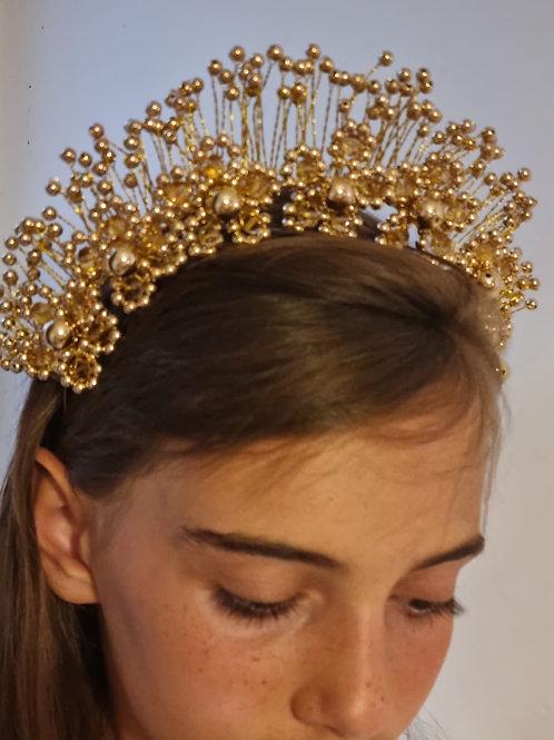 Gold Pearls Tiara - Headband