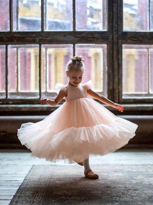 Peach Amelie Dress Tea Length