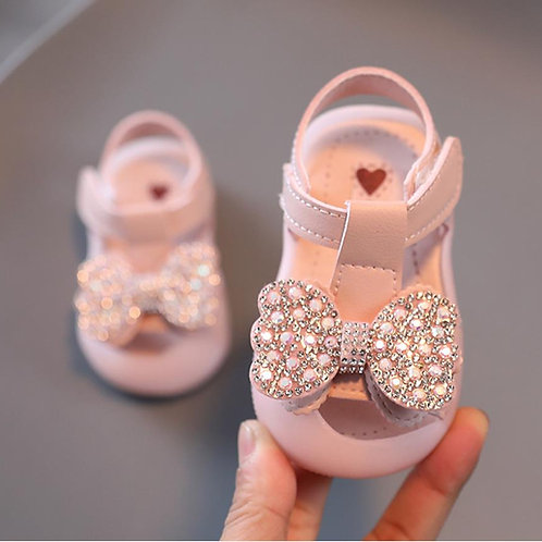 Ribbon Pink Baby Sandals with Toes Protection