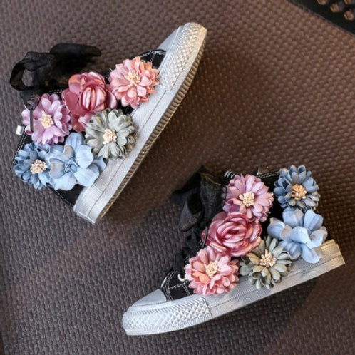 Converse Shoes With Flowers for Rock Girls -Black