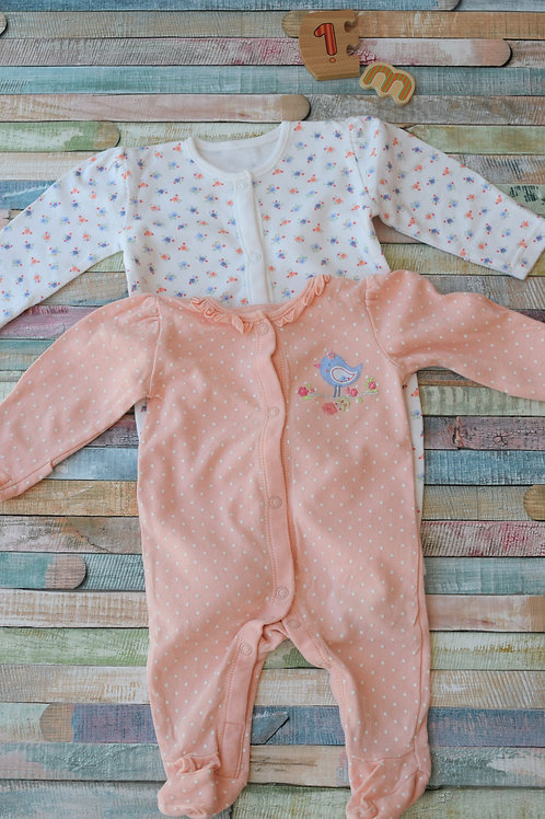 2 Long Sleeve Bodysuit 1 Month Old