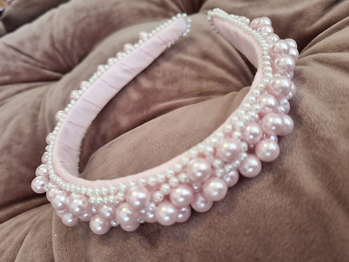 Baby Pink Pearls Headband Hand Made