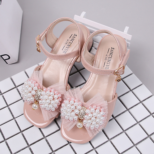 Elegant Pearls Pink with Heel Sandals for Girls