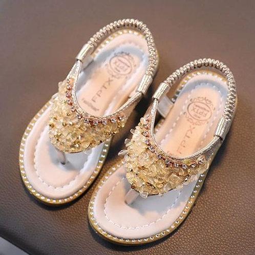 Flat Sparkly Princess Summer Sandals with Rhinestone