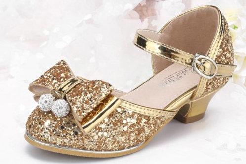 Ribbon Gold Princess Shoes