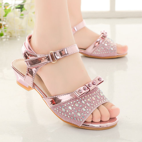 Pink Princess Sandals with Rhinestones and Heel