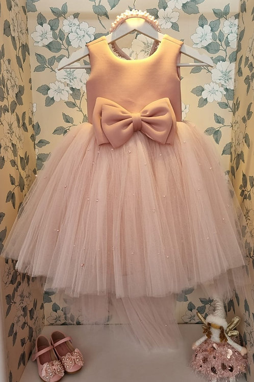 Astrid Pearls Pink Bow Dress with Train