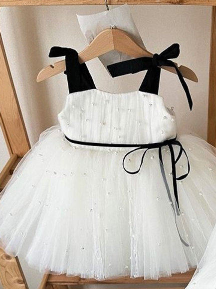 White and Black Belle Dress with Pearls