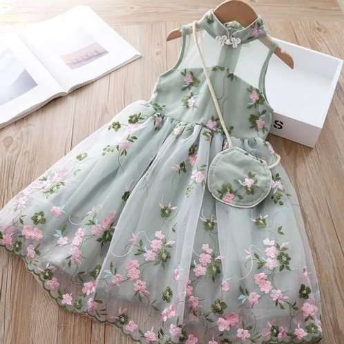 Green Summer Dress with Pink Flowers and Matching Bag